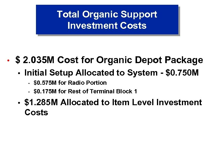Total Organic Support Investment Costs • $ 2. 035 M Cost for Organic Depot