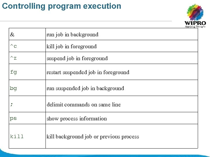 Controlling program execution & run job in background ^c kill job in foreground ^z