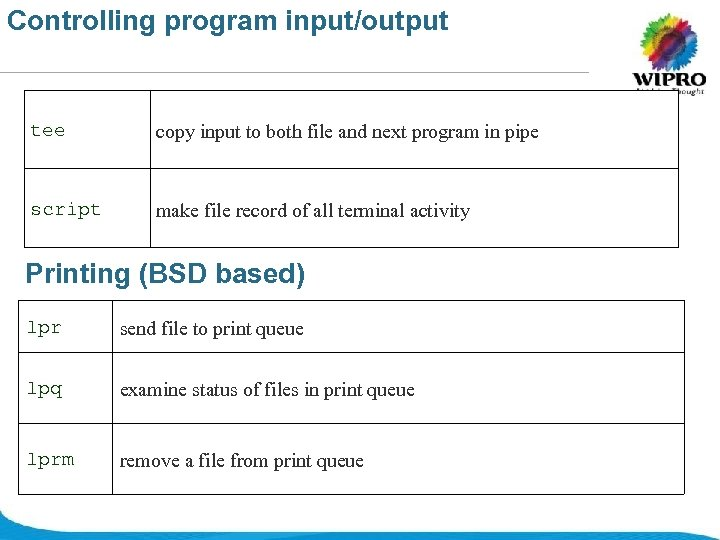 Controlling program input/output tee copy input to both file and next program in pipe