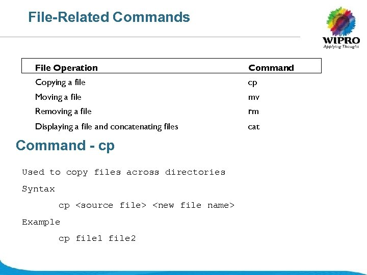 File-Related Commands File Operation Command Copying a file cp Moving a file mv Removing