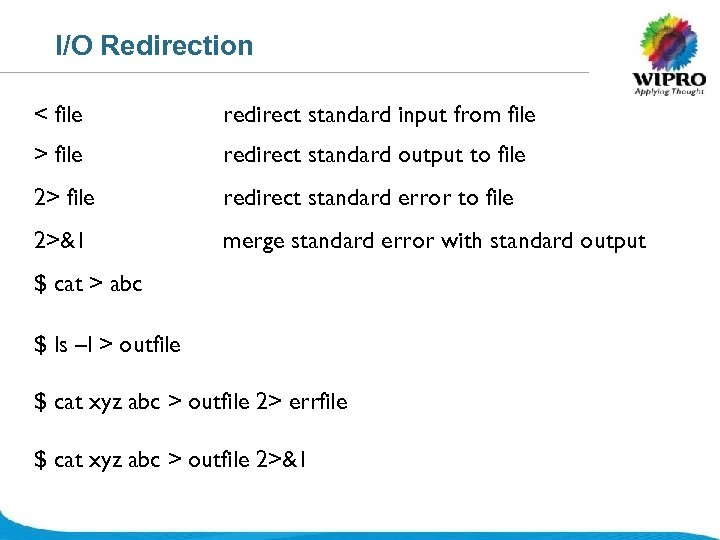 I/O Redirection < file redirect standard input from file > file redirect standard output