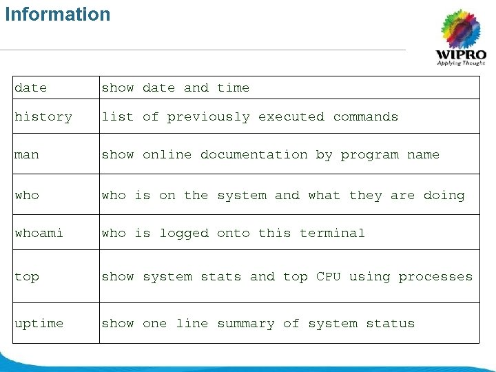 Information date show date and time history list of previously executed commands man show