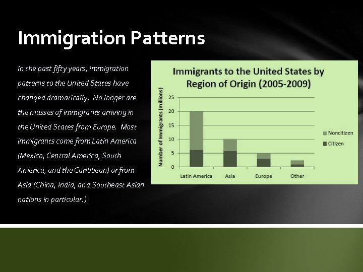 Immigration Patterns In the past fifty years, immigration patterns to the United States have