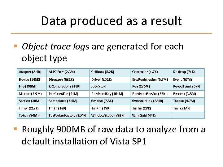Data produced as a result § Object trace logs are generated for each object
