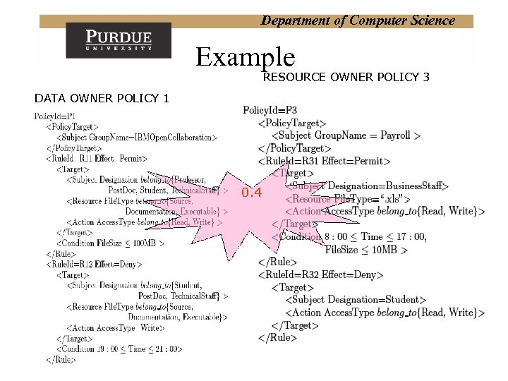Department of Computer Science Example RESOURCE OWNER POLICY 3 DATA OWNER POLICY 1 0.