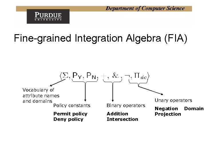 Department of Computer Science Fine-grained Integration Algebra (FIA) Vocabulary of attribute names and domains