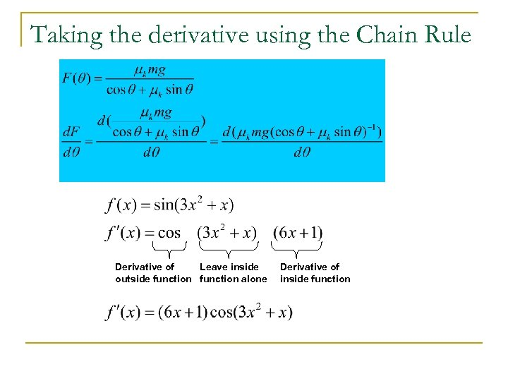 Taking the derivative using the Chain Rule Derivative of Leave inside outside function alone