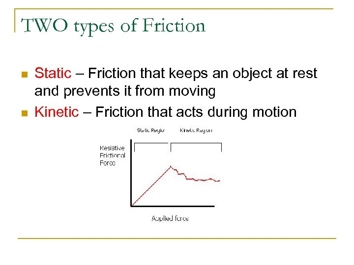 TWO types of Friction n n Static – Friction that keeps an object at