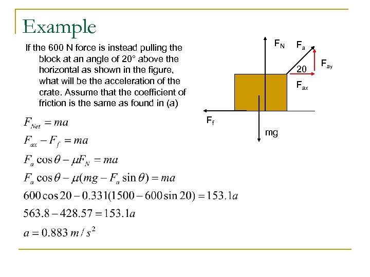 Example FN If the 600 N force is instead pulling the block at an