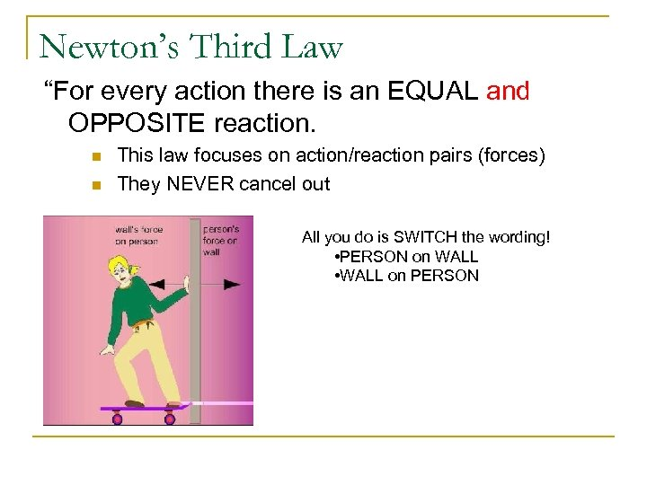 "Newton's Third Law ""For every action there is an EQUAL and OPPOSITE reaction. n"