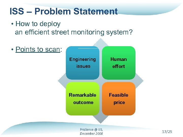 ISS – Problem Statement • How to deploy an efficient street monitoring system? •