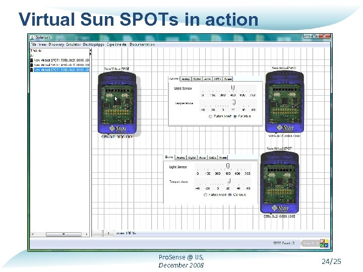 Virtual Sun SPOTs in action Pro. Sense @ IJS, December 2008 24/25