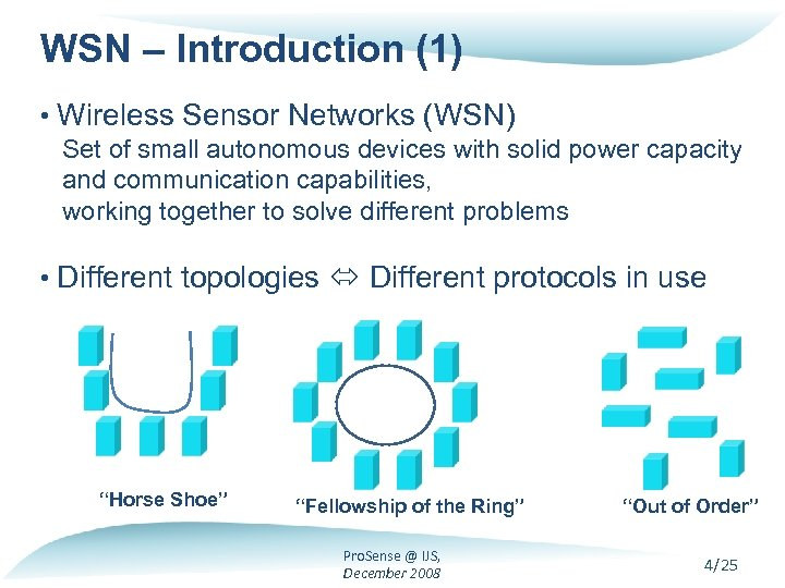 WSN – Introduction (1) • Wireless Sensor Networks (WSN) Set of small autonomous devices
