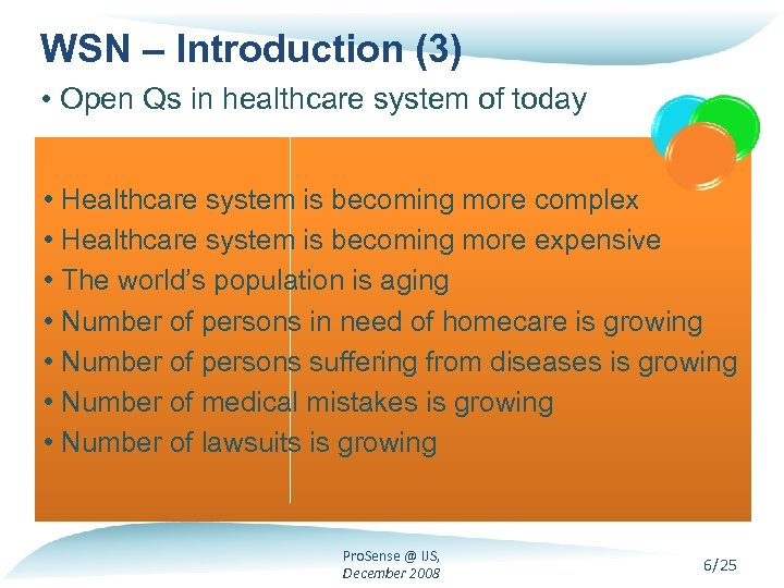 WSN – Introduction (3) • Open Qs in healthcare system of today • Healthcare