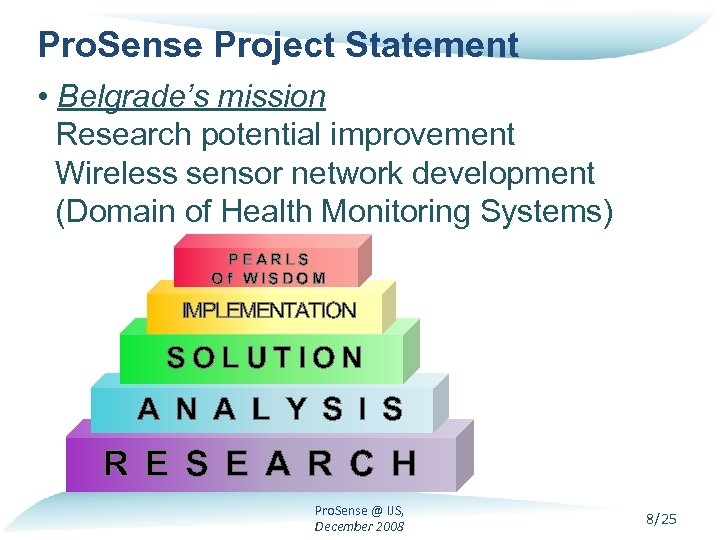 Pro. Sense Project Statement • Belgrade's mission Research potential improvement Wireless sensor network development