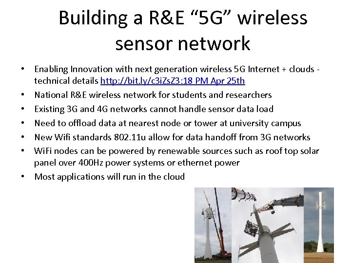 """Building a R&E """" 5 G"""" wireless sensor network • Enabling Innovation with next"""