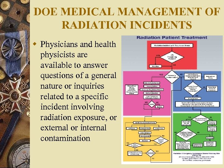DOE MEDICAL MANAGEMENT OF RADIATION INCIDENTS w Physicians and health physicists are available to
