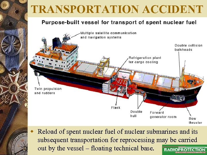 TRANSPORTATION ACCIDENT w Reload of spent nuclear fuel of nuclear submarines and its subsequent