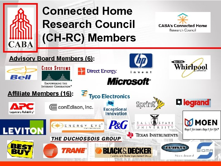 Connected Home Research Council (CH-RC) Members Advisory Board Members (6): Affiliate Members (16):