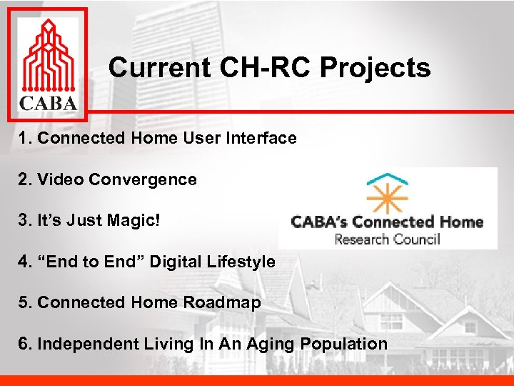 Current CH-RC Projects 1. Connected Home User Interface 2. Video Convergence 3. It's Just