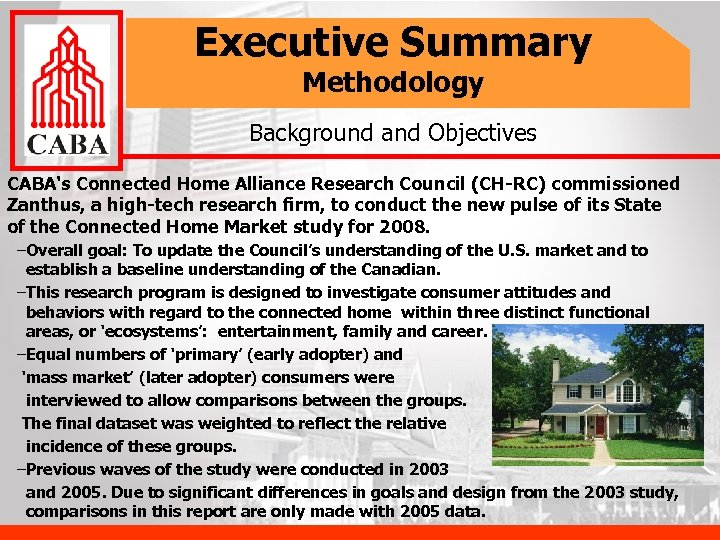 Executive Summary Methodology Background and Objectives CABA's Connected Home Alliance Research Council (CH-RC) commissioned