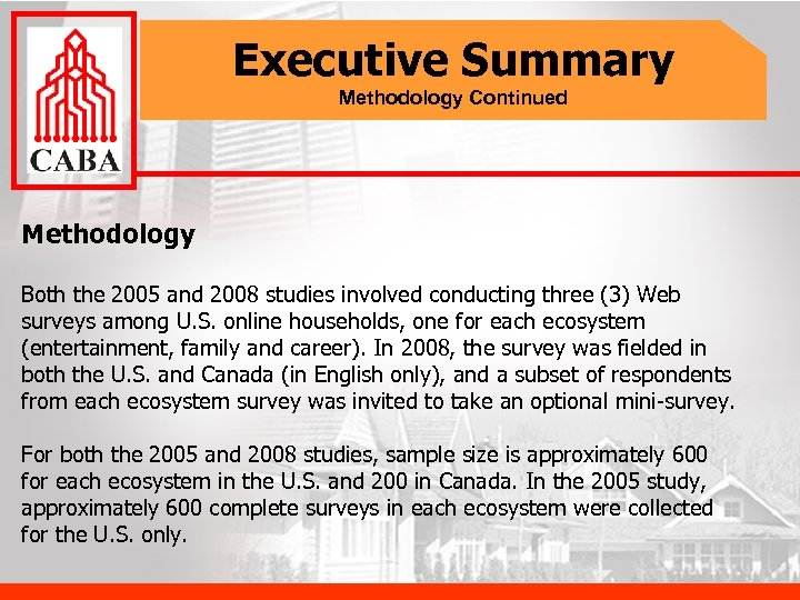 Executive Summary Methodology Continued Methodology Both the 2005 and 2008 studies involved conducting three