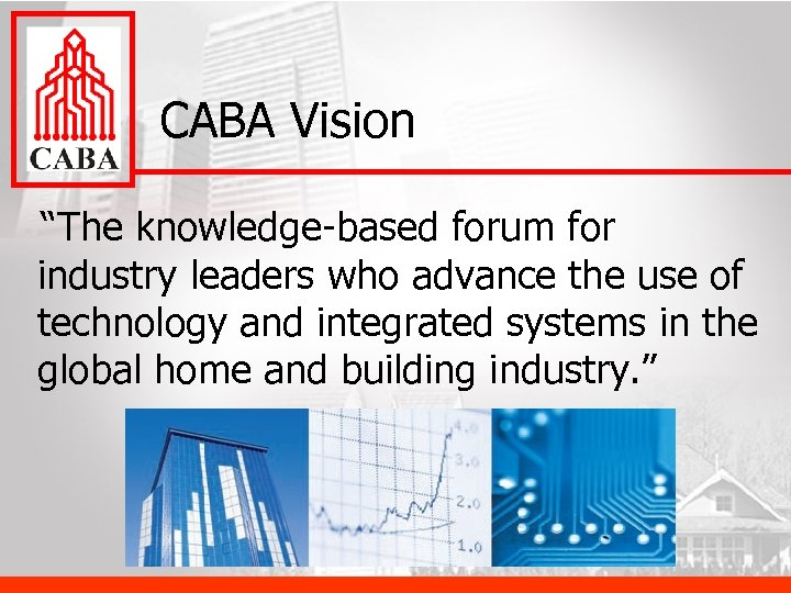 "CABA Vision ""The knowledge-based forum for industry leaders who advance the use of technology"