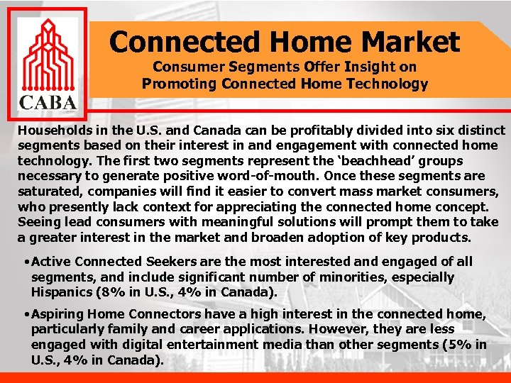 Connected Home Market Consumer Segments Offer Insight on Promoting Connected Home Technology Households in