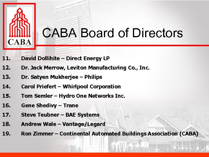 CABA Board of Directors 11. David Dollihite – Direct Energy LP 12. Dr. Jack
