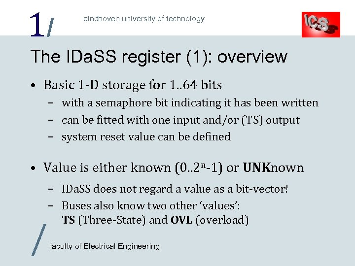 1/ eindhoven university of technology The IDa. SS register (1): overview • Basic 1