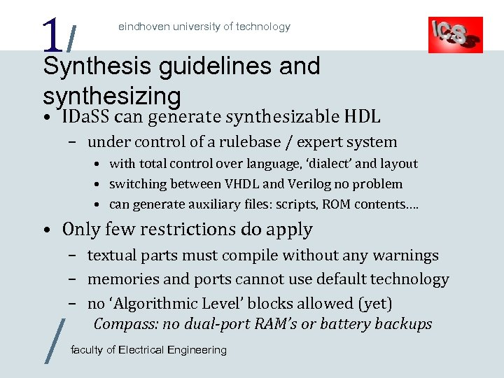 1/ Synthesis guidelines and eindhoven university of technology synthesizing • IDa. SS can generate