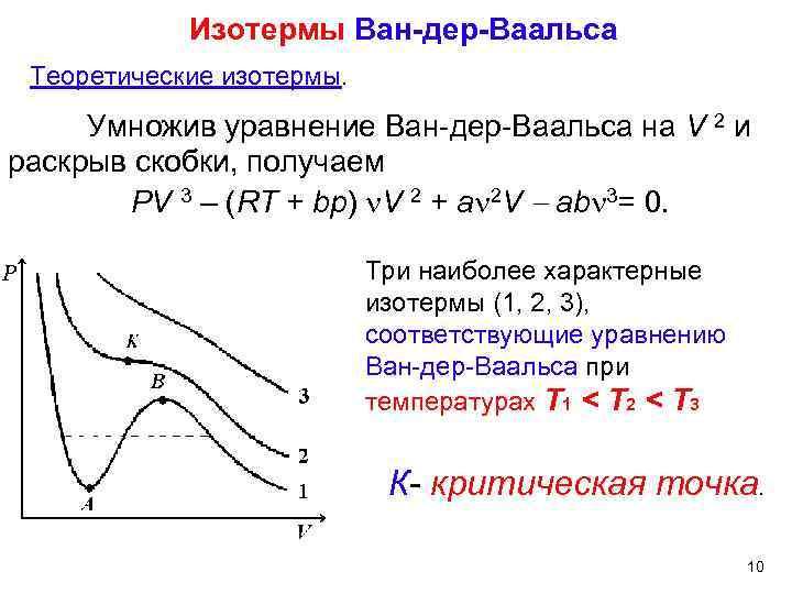 Изотермы Ван-дер-Ваальса Теоретические изотермы. Умножив уравнение Ван-дер-Ваальса на V 2 и раскрыв скобки, получаем