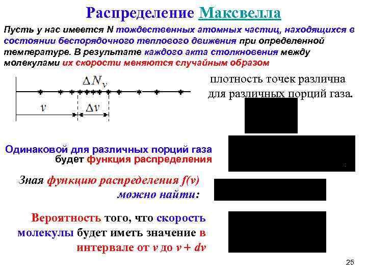 Распределение Максвелла Пусть у нас имеется N тождественных атомных частиц, находящихся в состоянии беспорядочного