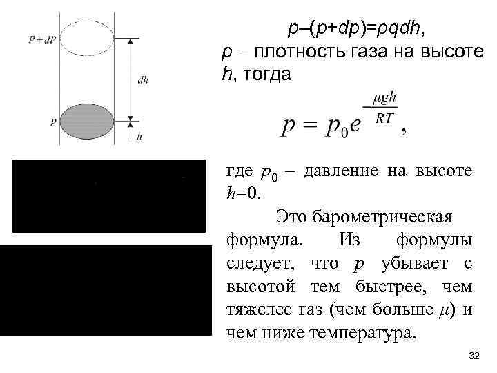 p–(p+dp)=ρqdh, ρ плотность газа на высоте h, тогда где р0 – давление на высоте