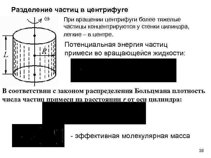 Разделение частиц в центрифуге При вращении центрифуги более тяжелые частицы концентрируются у стенки цилиндра,