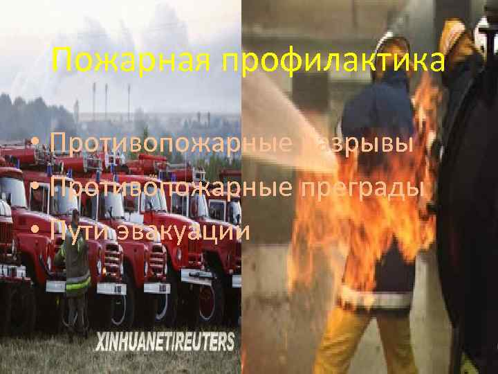 Пожарная профилактика • Противопожарные разрывы • Противопожарные преграды • Пути эвакуации