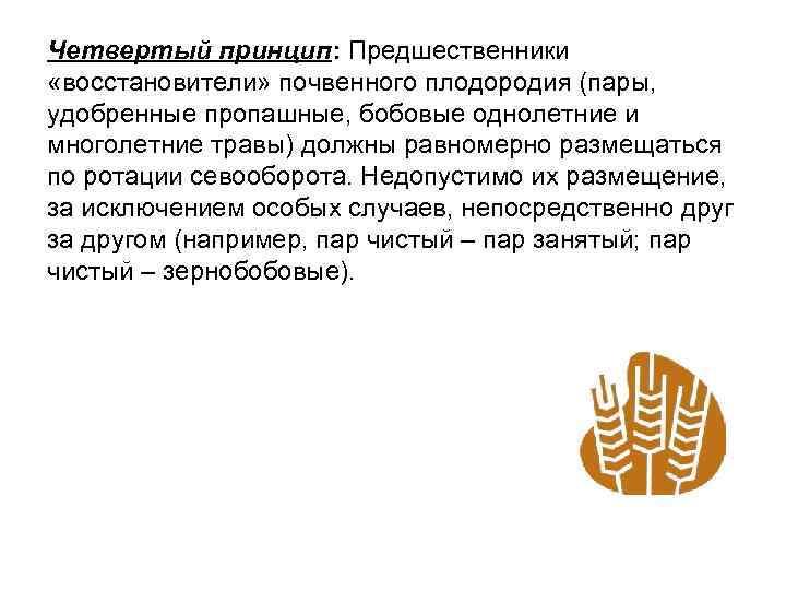Четвертый принцип: Предшественники «восстановители» почвенного плодородия (пары, удобренные пропашные, бобовые однолетние и многолетние травы)