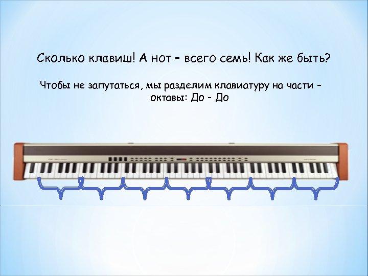 Сколько клавиш! А нот – всего семь! Как же быть? Чтобы не запутаться, мы