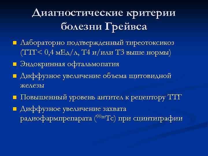 Диагностические критерии болезни Грейвса n n n Лабораторно подтвержденный тиреотоксикоз (ТТГ< 0, 4 м.