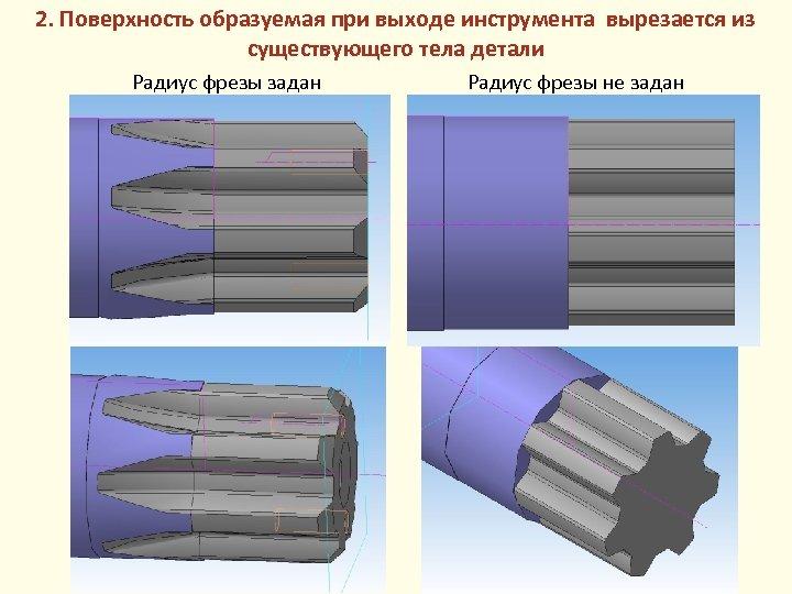2. Поверхность образуемая при выходе инструмента вырезается из существующего тела детали Радиус фрезы задан