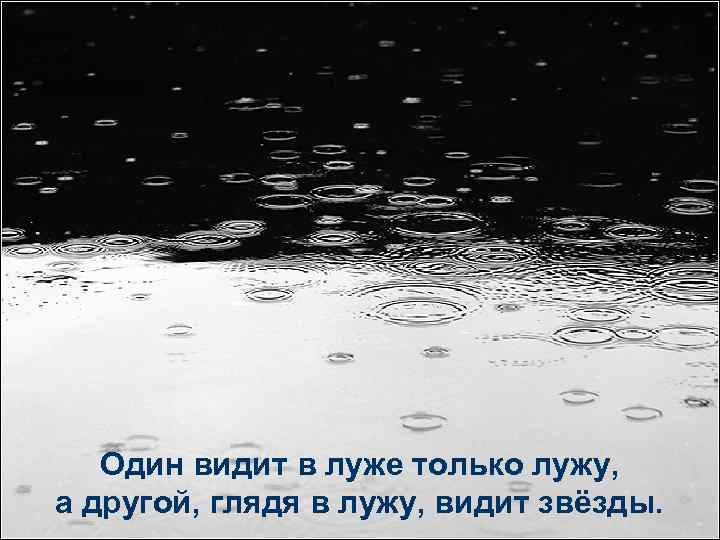 Один видит в луже только лужу, а другой, глядя в лужу, видит звёзды.