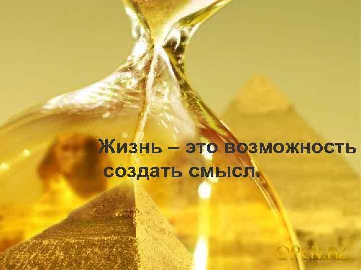 Жизнь – это возможность создать смысл.