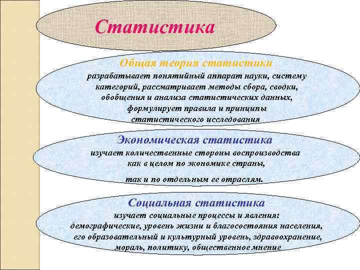 Статистика Общая теория статистики разрабатывает понятийный аппарат науки, систему категорий, рассматривает методы сбора, сводки,