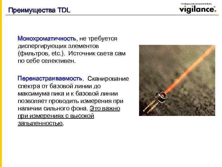 Преимущества TDL Mонохроматичность, не требуется диспергирующих элементов (фильтров, etc. ). Источник света сам по