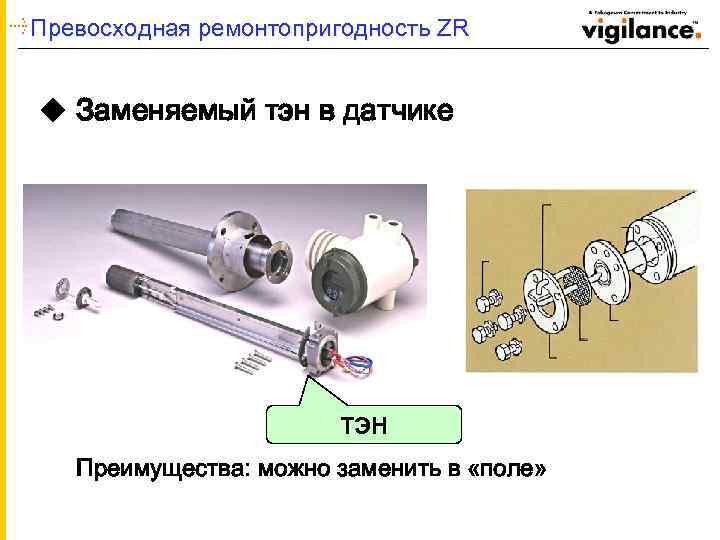 Превосходная ремонтопригодность ZR u Заменяемый тэн в датчике ТЭН Преимущества: можно заменить в «поле»