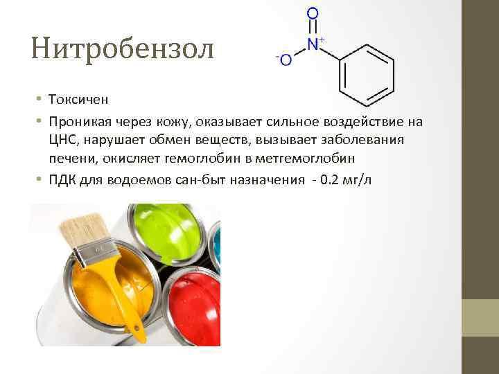 Нитробензол • Токсичен • Проникая через кожу, оказывает сильное воздействие на ЦНС, нарушает обмен