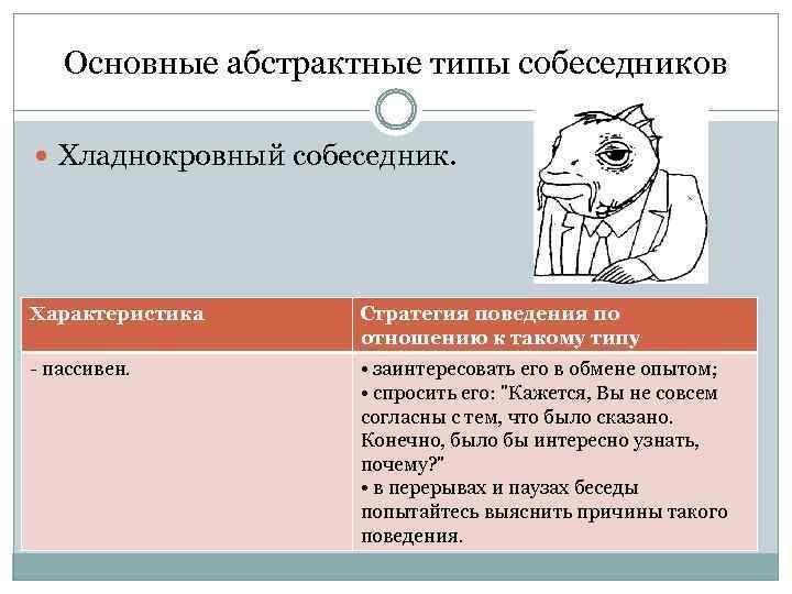 Основные абстрактные типы собеседников Хладнокровный собеседник. Характеристика Стратегия поведения по отношению к такому типу