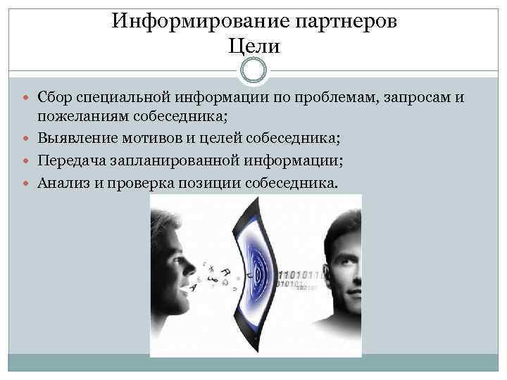 Информирование партнеров Цели Сбор специальной информации по проблемам, запросам и пожеланиям собеседника; Выявление мотивов