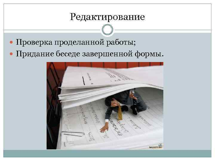 Редактирование Проверка проделанной работы; Придание беседе завершенной формы.