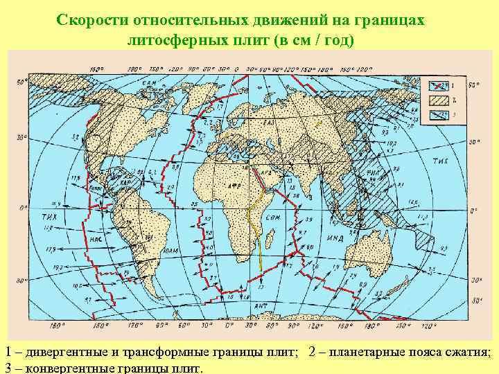 Скорости относительных движений на границах литосферных плит (в см / год) 1 – дивергентные